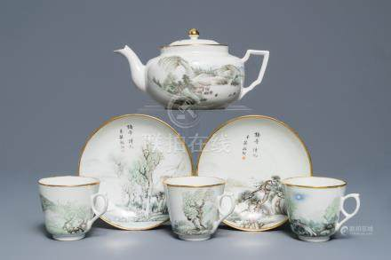 A Chinese qianjiang cai teapot, three cups and two saucers, Republic, 1st half 20th C.