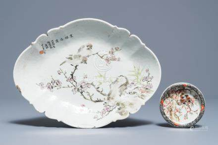 A Chinese qianjiang cai stem bowl and a round brushwasher, 20th C.
