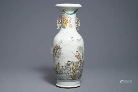 A Chinese qianjiang cai 'immortals' vase, 19/20th C.