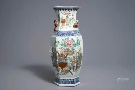 A hexagonal Chinese qianjiang cai vase, 19/20th C.