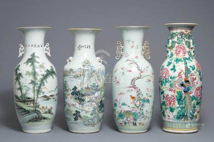 Four Chinese famille rose and qianjiang cai vases, 19/20th C.