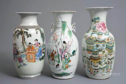 Three Chinese famille rose and qianjiang cai vases, 19/20th C.