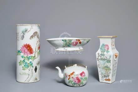 Four Chinese qianjiang cai wares, 19/20th C.