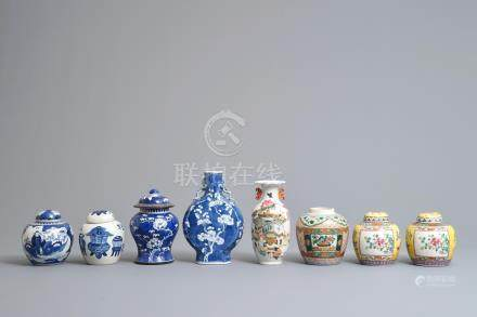 Eight Chinese blue and white, famille rose and qianjiang cai vases, 19/20th C.