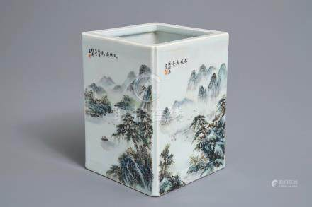 A square Chinese qianjiang cai brush pot with landscapes, 20th C.