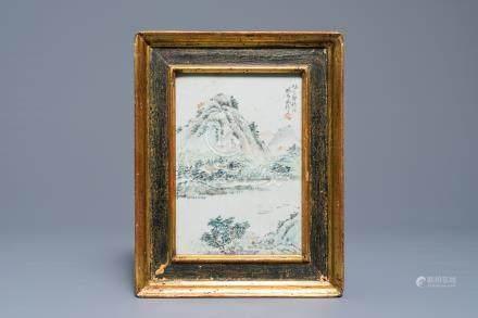 A Chinese qianjiang cai plaque with a mountain landscape, Luo Yang Gu, Guangxu