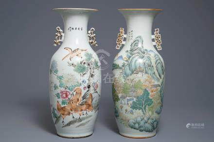 Two Chinese qianjiang cai vases with birds and landscapes, 19/20th C.