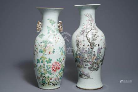 Two Chinese famille rose and qianjiang cai vases, 19/20th C.