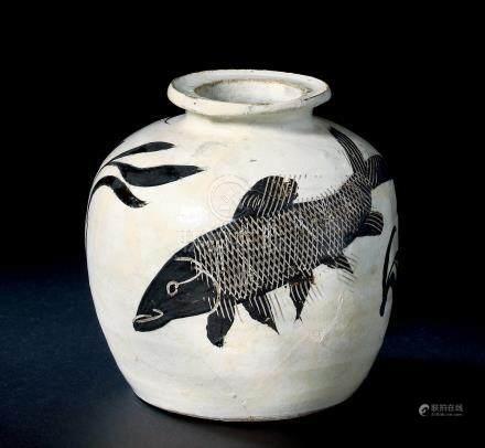 北宋磁州窑白地黑花鱼藻纹罐