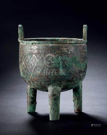 商晚期斜方格乳钉纹铜鼎