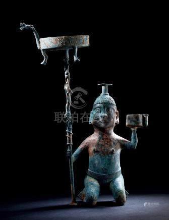 汉青铜胡人铜灯