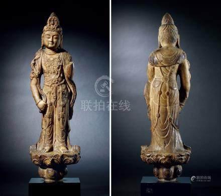 唐白石雕大势至菩萨立像