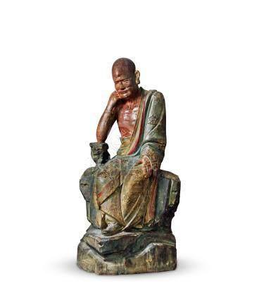 明木雕彩绘罗汉坐像