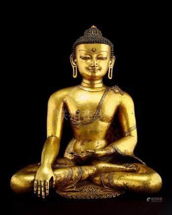 十四世纪马拉风格铜鎏金释迦牟尼坐像