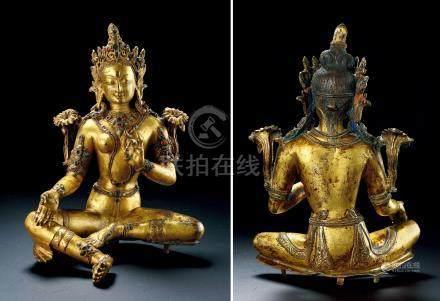 十四至十五世纪铜鎏金绿度母