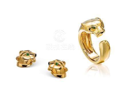 卡地亞設計 「獵豹」首飾套裝及一對黃金耳環