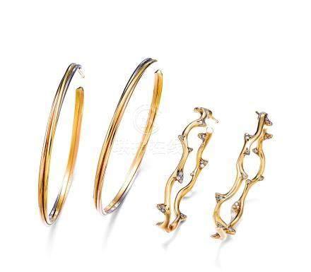 迪奧設計 黃金配鑽石耳環及 卡地亞設計 黃金耳環一對