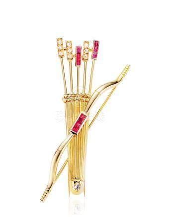 卡地亞設計 紅寶石及鑽石「弓箭」胸針