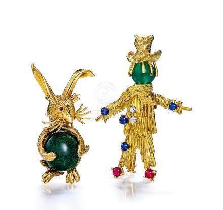 寶詩龍設計 黃金「免子」胸針及黃金「稻草人」胸針
