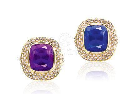 蒂芙尼設計 坦尚尼亞變色剛玉配鑽石戒指,未經加熱