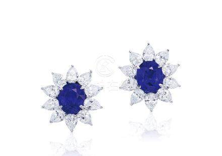 共重約7.50克拉馬達加斯加藍寶石配鑽石耳環,未經加熱