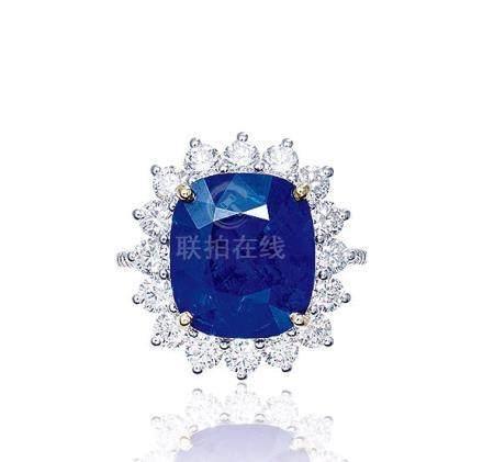 8.12克拉緬甸「皇家藍」藍寶石配鑽石戒指,未經加熱