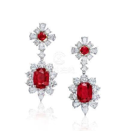 共重9.0克拉莫三比克紅寶石配鑽石耳環