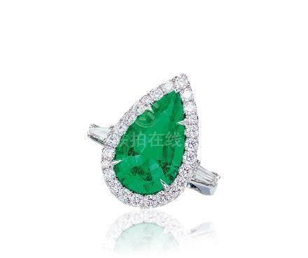 5.10克拉哥倫比亞祖母綠配鑽石戒指,未經注油