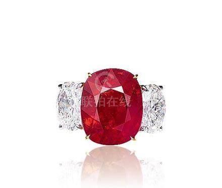 7.06克拉緬甸「鴿血紅」紅寶石配鑽石戒指,未經加熱