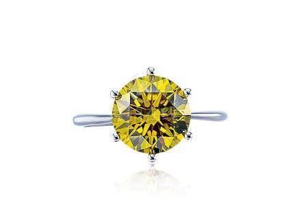 3.43克拉深彩棕綠黃色鑽石戒指