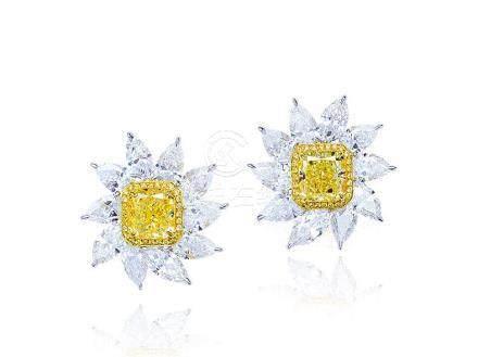 2.12及1.92克拉天然濃彩黃色鑽石配鑽石耳環