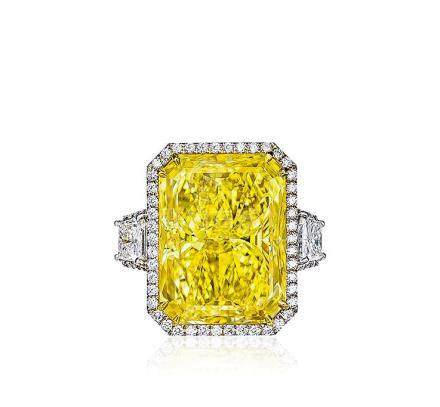 18.49克拉天然彩棕黃色鑽石配鑽石戒指