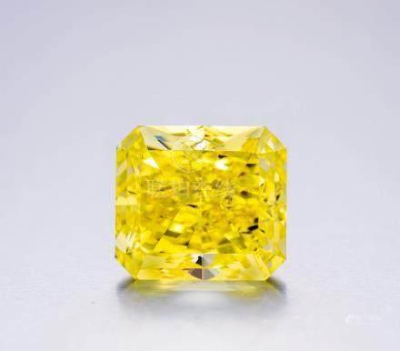 22.88克拉豔彩黃色鑽石配鑽石戒指