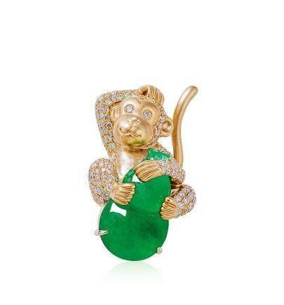 緬甸天然翡翠「金猴葫蘆」配鑽石胸針