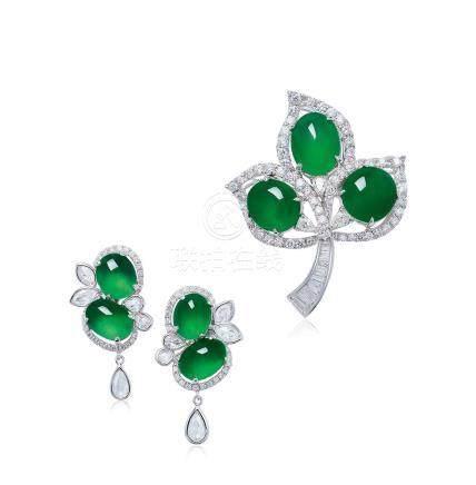 DEJADE設計 緬甸天然翡翠蛋面配鑽石胸針及耳環套裝