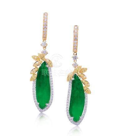 緬甸天然翡翠配鑽石耳環一對
