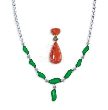 緬甸天然翡翠配鑽石及彩色寶石掛墜及項鍊套裝