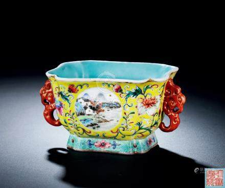 清乾隆黄地洋彩缠枝花卉开光山水纹双耳方形把杯