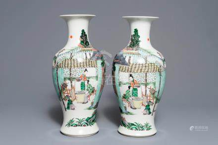A pair of Chinese famille verte 'silk production' vases, 19th C.
