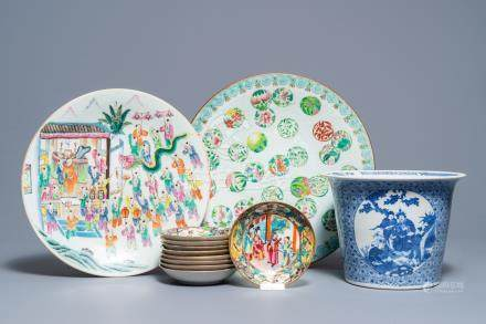 Two Chinese famille rose dishes, nine Canton saucers and a blue and white flowerpot, 19th C.