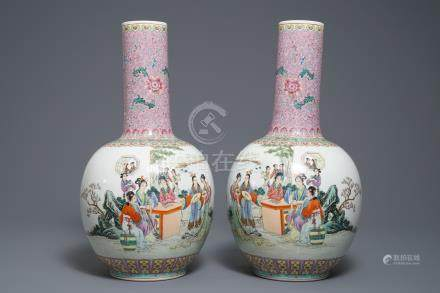 A pair of Chinese famille rose tianqiu ping vases with figures, 20th C.