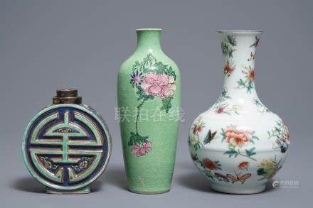 Three Chinese famille rose vases, two with Qianlong marks, 19/20th C.