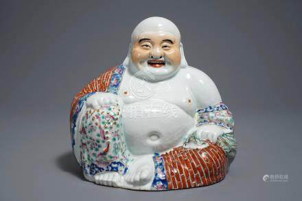A Chinese famille rose model of Buddha, 19/20th C.