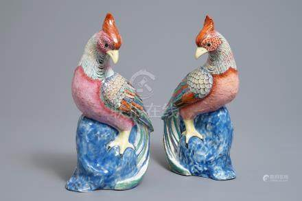 A pair of Chinese famille rose models of pheasants, 19/20th C.