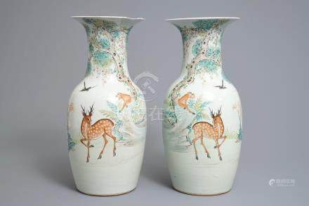 A pair of Chinese qianjiang cai vases with deer and monkeys, 19/20th C.