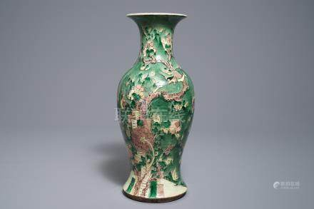 A Chinese famille verte vase with birds among foliage, 19th C.