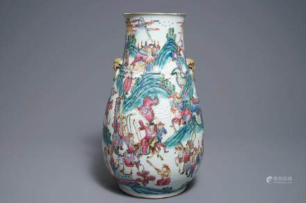 A large Chinese famille rose hu vase with warrior scenes, 19th C.