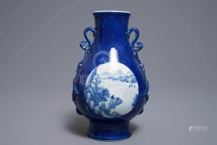 A Chinese blue and white on powder blue ground hu vase, Qianlong mark, 19/20th C.