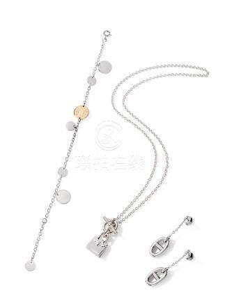 白金CONFETTIS手链及白金BIRKIN AMULETTE吊坠项链及白金FARANDOLE耳坠
