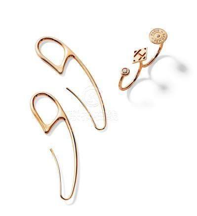 玫瑰金CHAINE D'ANCRE庞克式风格耳环&玫瑰金镶嵌钻石GAMBADE双环戒指